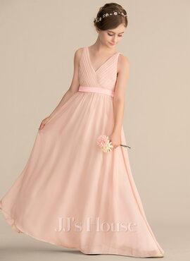 A-Line V-neck Floor-Length Chiffon Junior Bridesmaid Dress With Ruffle Bow(s) (009165038)