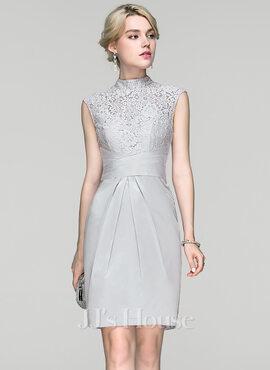Sheath/Column High Neck Knee-Length Charmeuse Cocktail Dress With Ruffle (016094345)