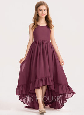 A-Line Scoop Neck Asymmetrical Chiffon Junior Bridesmaid Dress With Bow(s) Cascading Ruffles (009191719)