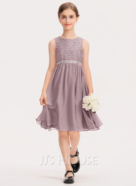 A-Line Scoop Neck Knee-Length Chiffon Lace Junior Bridesmaid Dress With Beading Bow(s) (009191709)