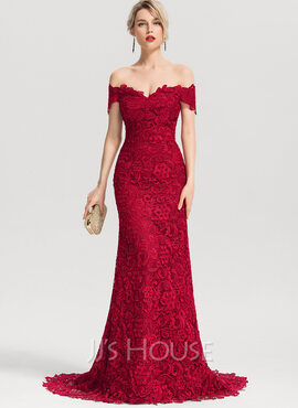 Trumpet/Mermaid Off-the-Shoulder Sweep Train Lace Prom Dresses (018192891)