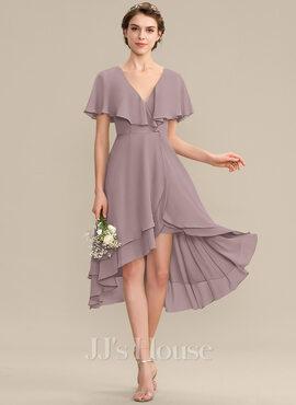 A-Line V-neck Asymmetrical Chiffon Bridesmaid Dress With Cascading Ruffles (007176753)