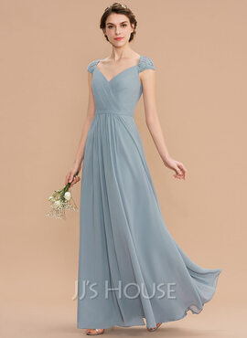 A-Line V-neck Floor-Length Chiffon Lace Bridesmaid Dress With Ruffle (007176762)