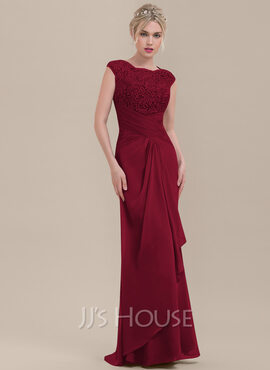 Sheath/Column Scoop Neck Floor-Length Chiffon Lace Bridesmaid Dress With Cascading Ruffles (007116637)