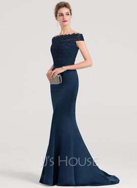 Trumpet/Mermaid Off-the-Shoulder Sweep Train Satin Evening Dress With Beading (017153364)