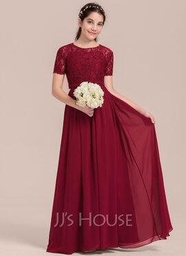 A-Line Scoop Neck Floor-Length Chiffon Junior Bridesmaid Dress (009130645)