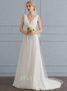 A-Line/Princess V-neck Sweep Train Chiffon Wedding Dress With Ruffle (002124274)