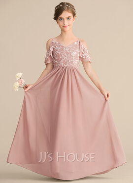 A-Line V-neck Floor-Length Chiffon Lace Junior Bridesmaid Dress (009165031)
