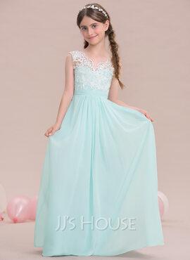 A-Line V-neck Floor-Length Chiffon Junior Bridesmaid Dress (009119596)