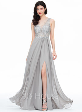 A-Line/Princess Scoop Neck Floor-Length Chiffon Prom Dresses With Beading Sequins Split Front (018163109)
