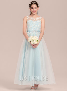 A-Line Scoop Neck Ankle-Length Organza Junior Bridesmaid Dress With Beading (009130622)