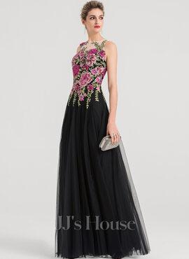 A-Line/Princess Scoop Neck Floor-Length Tulle Evening Dress (017147937)