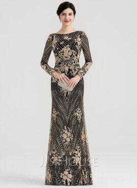 Sheath/Column Scoop Neck Floor-Length Sequined Evening Dress (017147959)