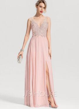 A-Line/Princess V-neck Floor-Length Chiffon Prom Dresses With Beading Split Front (018163280)