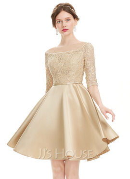 A-Line Scoop Neck Knee-Length Satin Homecoming Dress With Beading Sequins (022120487)
