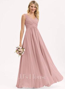 A-Line/Princess V-neck Floor-Length Chiffon Bridesmaid Dress With Ruffle (007105575)