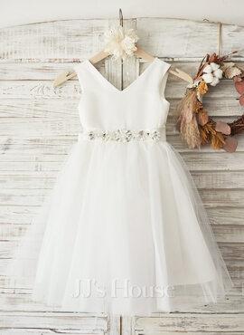 A-Line Knee-length Flower Girl Dress - Satin/Tulle Sleeveless V-neck With Bow(s) (010104941)