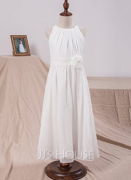 A-Line Ankle-length Flower Girl Dress - Chiffon Sleeveless Scoop Neck With Flower(s) (Undetachable sash) (010101886)