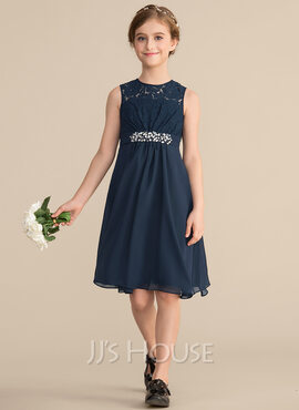 A-Line Scoop Neck Knee-Length Chiffon Lace Junior Bridesmaid Dress With Beading Sequins Bow(s) (009165036)