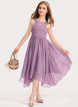 A-Line Scoop Neck Tea-Length Chiffon Junior Bridesmaid Dress With Ruffle Beading Bow(s) (009191710)