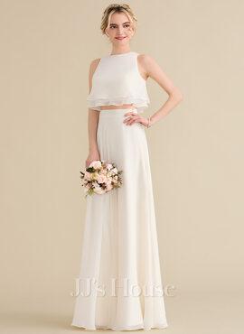 A-Line/Princess Scoop Neck Floor-Length Chiffon Bridesmaid Dress With Cascading Ruffles (007144764)