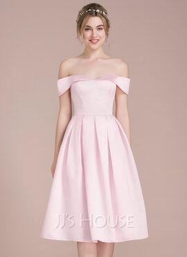 A-Line Off-the-Shoulder Knee-Length Satin Bridesmaid Dress (007104710)
