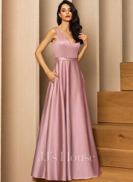 A-Line V-neck Floor-Length Satin Bridesmaid Dress With Pockets (007206490)