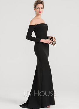 Trumpet/Mermaid Off-the-Shoulder Sweep Train Stretch Crepe Evening Dress (017147976)