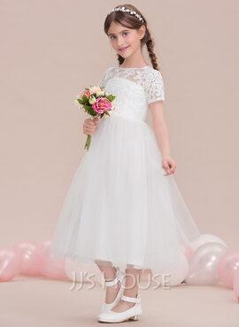 A-Line Scoop Neck Tea-Length Tulle Junior Bridesmaid Dress (009119600)