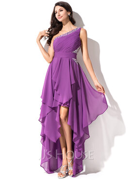 A-Line One-Shoulder Asymmetrical Chiffon Homecoming Dress With Ruffle Beading Sequins (022051523)