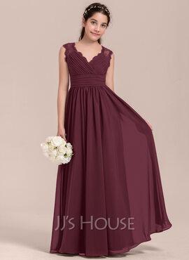 Empire V-neck Floor-Length Chiffon Junior Bridesmaid Dress With Ruffle (009130644)