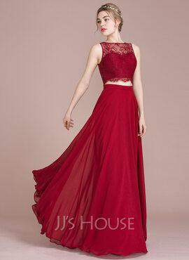 A-Line/Princess Scoop Neck Floor-Length Chiffon Lace Bridesmaid Dress (007104728)