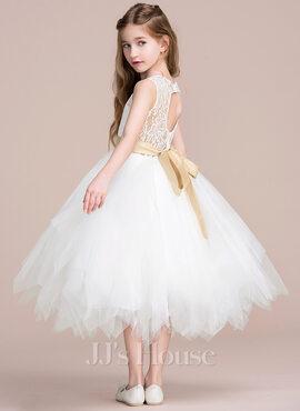 A-Line Tea-length Flower Girl Dress - Tulle/Lace Sleeveless Scoop Neck With Sash/Back Hole (Detachable sash) (010106125)