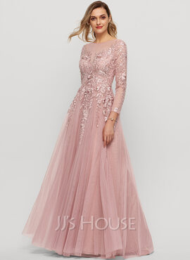 A-Line Scoop Neck Floor-Length Tulle Evening Dress (017209138)