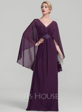 A-Line/Princess V-neck Floor-Length Chiffon Evening Dress With Ruffle Beading (017131494)