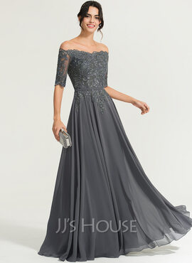 A-Line Off-the-Shoulder Floor-Length Chiffon Evening Dress With Beading (017167708)