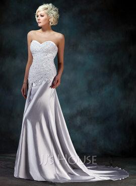 Trumpet/Mermaid Sweetheart Watteau Train Charmeuse Wedding Dress With Lace Beading (002000157)