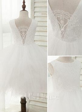 A-Line Knee-length Flower Girl Dress - Tulle/Lace Sleeveless Scoop Neck With Beading/V Back (010141202)