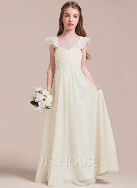 A-Line Sweetheart Floor-Length Chiffon Junior Bridesmaid Dress With Ruffle (009087911)