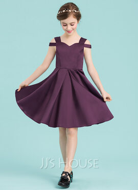 A-Line Sweetheart Knee-Length Satin Junior Bridesmaid Dress (009148428)