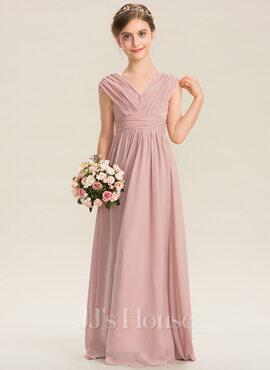 A-Line V-neck Floor-Length Chiffon Junior Bridesmaid Dress With Ruffle Bow(s) (009173305)