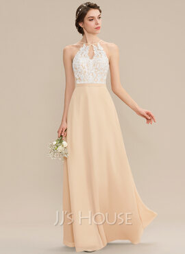 A-Line Scoop Neck Floor-Length Chiffon Lace Bridesmaid Dress With Bow(s) (007176761)