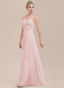 A-Line/Princess Sweetheart Floor-Length Chiffon Bridesmaid Dress With Ruffle (007116628)