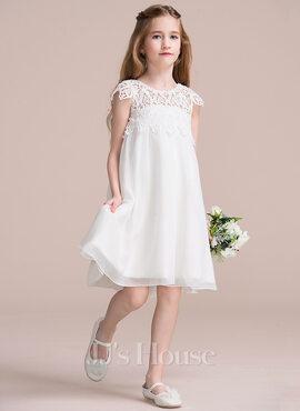 Empire Knee-length Flower Girl Dress - Chiffon/Lace Sleeveless Scoop Neck (010106122)
