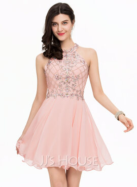 A-Line/Princess Scoop Neck Short/Mini Chiffon Homecoming Dress With Beading (022163281)