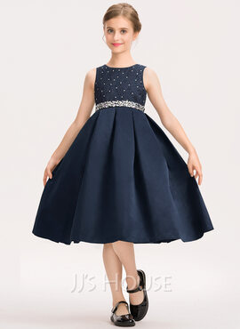 A-Line Scoop Neck Knee-Length Satin Lace Junior Bridesmaid Dress With Beading Bow(s) (009191724)