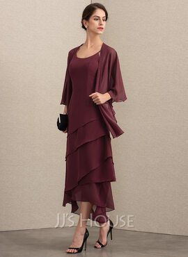 A-Line Scoop Neck Asymmetrical Chiffon Mother of the Bride Dress With Beading (008164071)