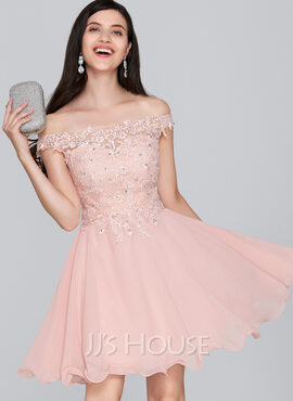 A-Line Off-the-Shoulder Short/Mini Chiffon Homecoming Dress With Beading Sequins (022124858)