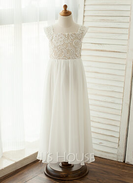 A-Line/Princess Floor-length Flower Girl Dress - Chiffon/Lace Sleeveless Square Neckline With Lace/Appliques (010122570)