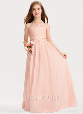 A-Line Scoop Neck Floor-Length Chiffon Lace Junior Bridesmaid Dress With Beading Sequins (009191734)